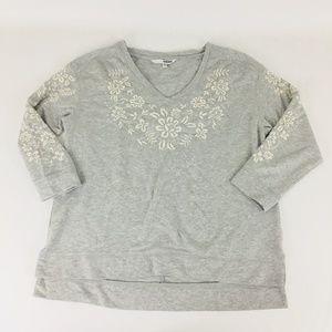 Sonoma Women's V-Neck Knit Sweatshirt Top Large